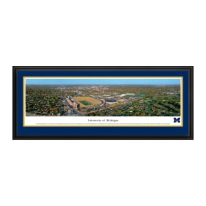 """Michigan Wolverines 18"""" x 44"""" Aerial Deluxe Framed Panoramic Wall Art"""
