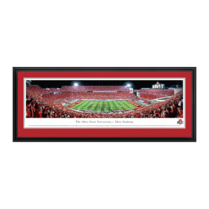 """Ohio State Buckeyes 18"""" x 44"""" Script Deluxe Framed Panoramic Wall Art"""