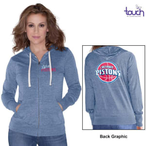 Detroit Pistons Touch by Alyssa Milano Women's Free Agent Tri-Blend Full Zip Hoodie - Royal Blue