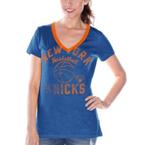 New York Knicks Women's Back Court Current Day Logo T-Shirt - Royal Blue