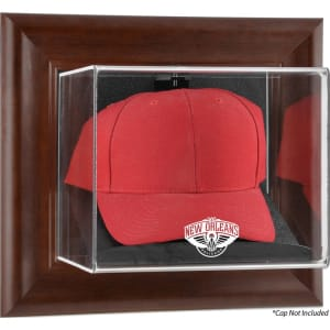 New Orleans Pelicans Fanatics Authentic Brown Framed Wall Mounted Cap Case