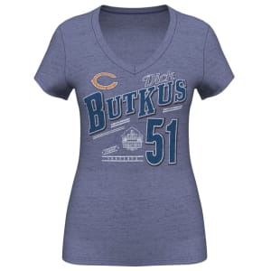 Dick Butkus Chicago Bears Women's Hall Of Fame Name & Number T-Shirt - Navy Blue