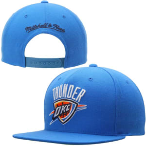 Oklahoma City Thunder Mitchell & Ness Current Logo Solid Wool Adjustable Snapback Hat - Light Blue