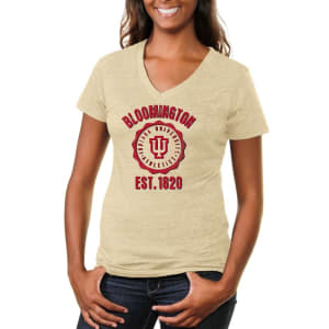 Indiana Hoosiers Women's Old-School Seal Tri-Blend V-Neck T-Shirt - White