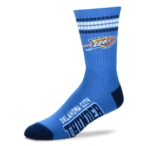 Oklahoma City Thunder For Bare Feet 4-Stripe Deuce Team Color Performance Crew Socks