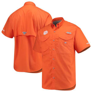 Clemson Tigers Columbia PFG Bonehead Short Sleeve Shirt - Orange