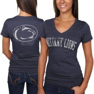 Penn State Nittany Lions Women's Slab Serif Tri-Blend V-Neck T-Shirt - Navy Blue