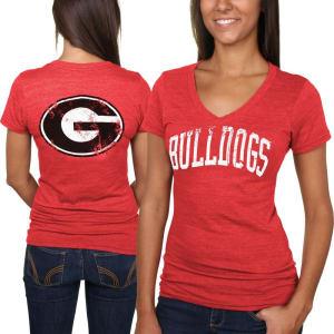 Georgia Bulldogs Women's Slab Serif Tri-Blend V-Neck T-Shirt - Red