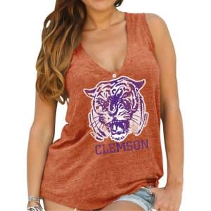 Clemson Tigers Original Retro Brand Womens Relaxed Henley Tank Top - Orange