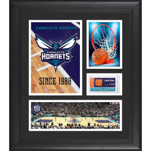 "Charlotte Hornets Fanatics Authentic Framed 15"" x 17"" Team Logo Collage with Team-Used Basketball - Limited Edition of 250"