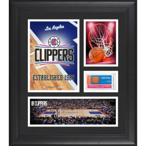 "LA Clippers Fanatics Authentic Framed 15"" x 17"" Team Logo Collage with Team-Used Basketball - Limited Edition of 250"