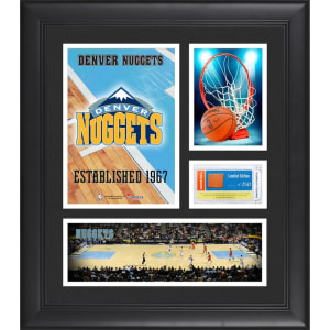 """Denver Nuggets Fanatics Authentic Framed 15"""" x 17"""" Team Logo Collage with Team-Used Basketball - Limited Edition of 250"""