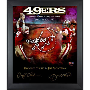 "Joe Montana, Dwight Clark San Francisco 49ers Fanatics Authentic Framed Autographed 20"" x 24"" In Focus The Catch Photograph"