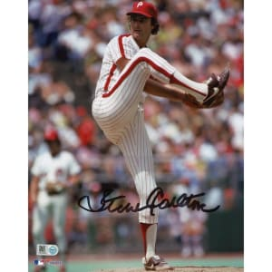 "Steve Carlton Philadelphia Phillies Fanatics Authentic Autographed 8"" x 10"" Leg Up in Pinstripes Photograph"
