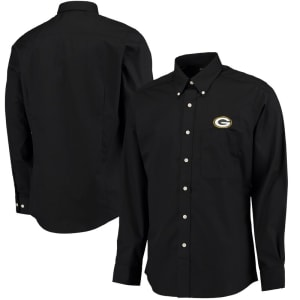 Green Bay Packers Antigua Dynasty Woven Long Sleeve Shirt - Black
