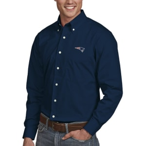 New England Patriots Antigua Dynasty Woven Long Sleeve Shirt - Navy