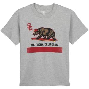 USC Trojans Youth Cali Surfin Flag T-Shirt - Gray