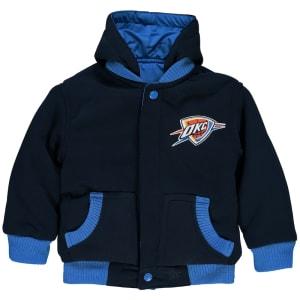 Oklahoma City Thunder JH Design Toddler Reversible Fleece Hooded Jacket - Navy
