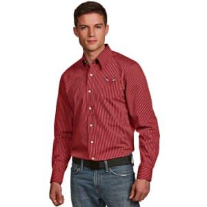 Chicago Bulls Antigua Graduate Striped Woven Long Sleeve Shirt - Red