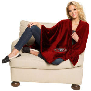 """San Francisco 49ers The Northwest Company 55"""" x 53.5"""" Silk Touch Wrap Blanket with Applique"""