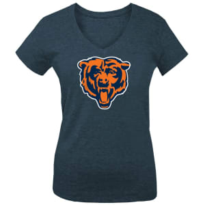 Chicago Bears 5th & Ocean by New Era Girls Youth Basic Logo Tri-Blend V-Neck T-Shirt - Navy