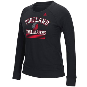 Portland Trail Blazers adidas Women's True Stripes French Terry Crew Fleece - Black