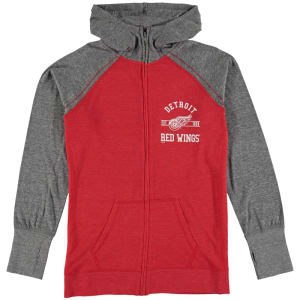 Detroit Red Wings Soft as a Grape Women's Plus Size Tri-Blend Full-Zip Hoodie - Red/Gray