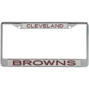 Cleveland Browns Metal Frame Acrylic Top & Bottom Inlaid Mirror License Plate Frame