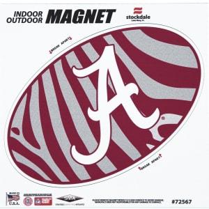 """Alabama Crimson Tide Zebra 6"""" x 6"""" Oval Full Color Magnet"""