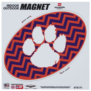"""Clemson Tigers Chevron 6"""" x 6"""" Oval Full Color Magnet"""