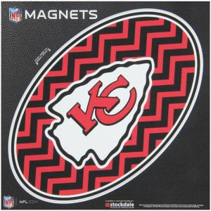 "Kansas City Chiefs Chevron 6"" x 6"" Oval Full Color Magnet"