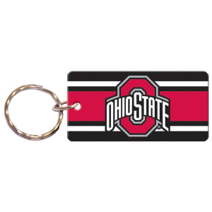 Ohio State Buckeyes Super Stripe Printed Acrylic Team Color Logo Keychain