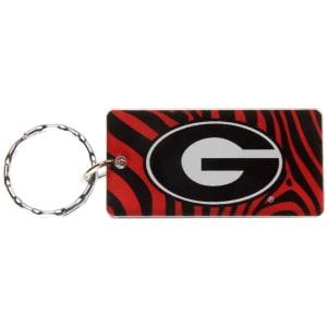 Georgia Bulldogs Zebra Printed Acrylic Team Color Logo Keychain