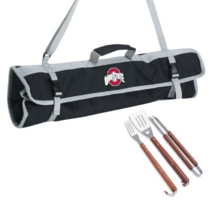 Ohio State Buckeyes Stainless Steel 3 Piece BBQ Set with Black Tote Bag