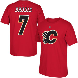 TJ Brodie Calgary Flames Reebok Name and Number T-Shirt - Red