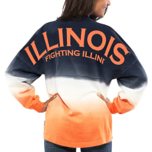 Illinois Fighting Illini Women's Ombre Long Sleeve Dip-Dyed Spirit Jersey - Navy
