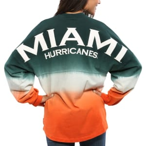 Miami Hurricanes Women's Ombre Long Sleeve Dip-Dyed Spirit Jersey - Green