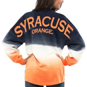 Syracuse Orange Women's Ombre Long Sleeve Dip-Dyed Spirit Jersey - Navy