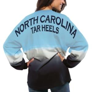 North Carolina Tar Heels Women's Ombre Long Sleeve Dip-Dyed Spirit Jersey - Carolina Blue