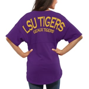 LSU Tigers Women's Spirit Jersey Oversized T-Shirt - Purple