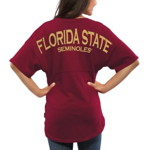 Florida State Seminoles Women's Spirit Jersey Oversized T-Shirt - Garnet