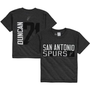 San Antonio Spurs Majestic Youth Vertical Name & Number T-Shirt - Charcoal -
