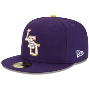 LSU Tigers New Era Tiger Eyes Basic 59FIFTY Fitted Hat - Purple