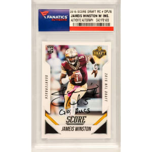 "Jameis Winston Florida State Seminoles Fanatics Authentic Autographed 2015 Score Draft Day Rookie #DPJW with ""Go Bucs"" Inscription"