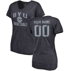 BYU Cougars Women's Personalized Distressed Basketball Tri-Blend V-Neck T-Shirt - Navy