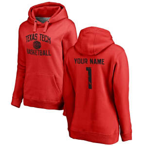Texas Tech Red Raiders Women's Personalized Distressed Basketball Pullover Hoodie - Scarlet