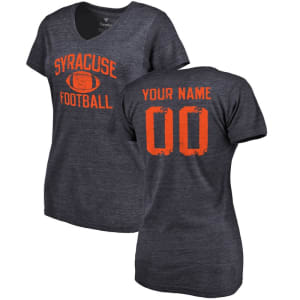Syracuse Orange Women's Personalized Distressed Football Tri-Blend V-Neck T-Shirt - Navy