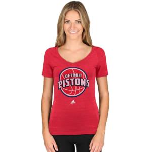Detroit Pistons adidas Women's Primary Logo Tri-Blend V-Neck T-Shirt - Red