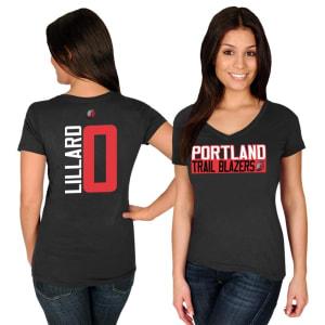 Damian Lillard Portland Trail Blazers Majestic Women's Name & Number V-Neck T-Shirt - Black