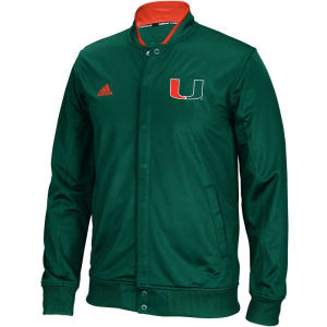 Miami Hurricanes adidas 2015-2016 Player On-Court Full Snap Jacket - Green